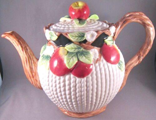 Fitz & Floyd Mediterranean Fruit Teapot (6 In.) Apples & Blossoms