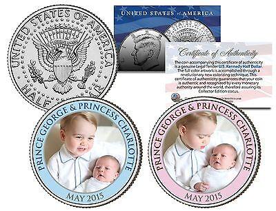 PRINCE GEORGE & PRINCESS CHARLOTTE May 2015 JFK Half Dollar US 2-Coin Set Diana