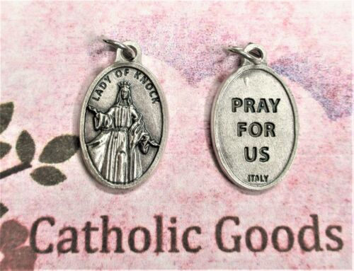 Our Lady of Knock - Pray for Us -  Italian Silver Tone Die Cast OX 1 inch Medal