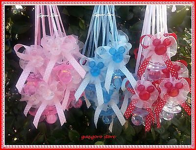 Polka dot Minnie & Mickey Pacifier Necklaces Baby Shower Game Favor U Pick Color