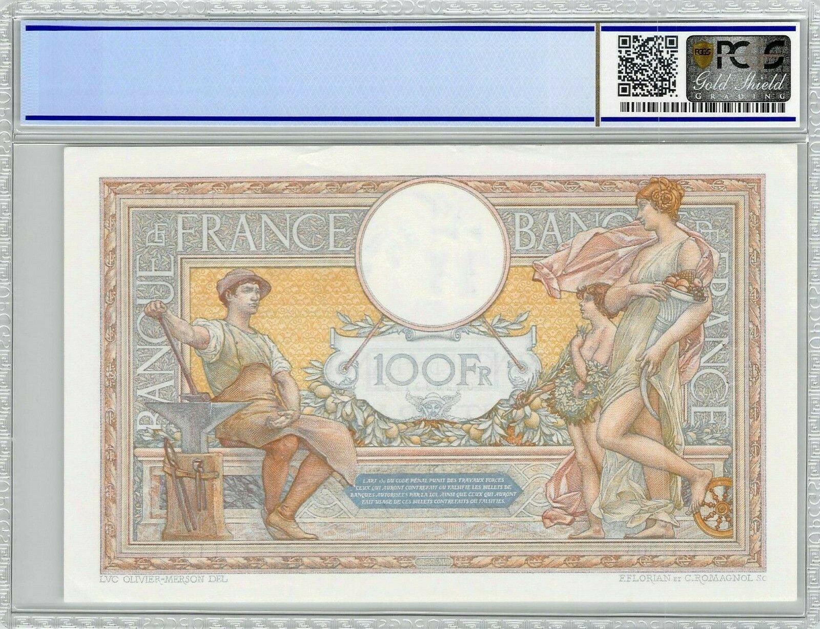 RECTO 100 francs Type 1906 Luc-Olivier Merson - None