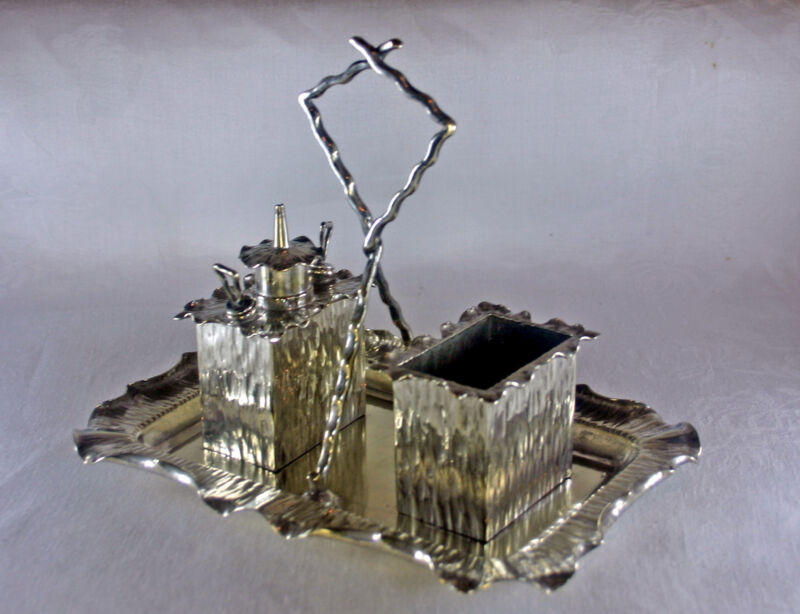 Silver Plated Hukin & Heath Desktop Smokers Set Christopher Dresser Design
