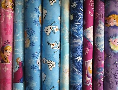 Disney Frozen Characters Anna Elsa Olaf Pinks Blues Purples Cotton Fabrics bthy