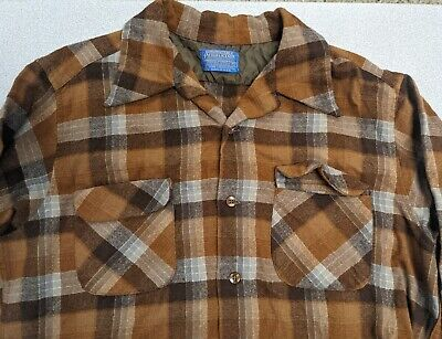1970s Mens Shirt Styles – Vintage 70s Shirts for Guys Pendleton Mens Board Shirt Plaid Brown Umatilla Wool XL Vintage 1970s $59.00 AT vintagedancer.com