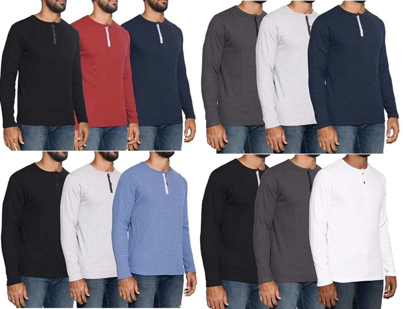 Mens Henley Long Sleeve Fashion Casual Fit T-Shirts Cotton H