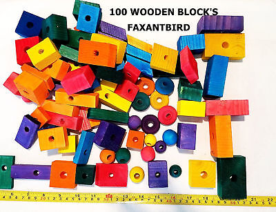 Bird parrot parts for toy cage toys wood wooden blocks medium to large size