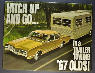 1967 Oldsmobile Towing Brochure Cutlass F-85 98 Delta 88 Delmont Wagon Original