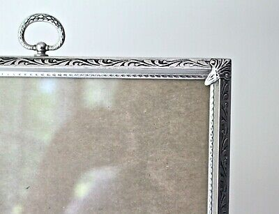 stand up picture frame with glass silver color Gorgeous detail. easel type Ornate