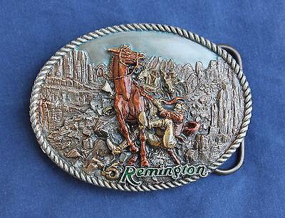 REMINGTON VINTAGE RATTLED RUN AWAY HORSE COWBOY PEWTER BELT BUCKLE HUNTING RIFLE