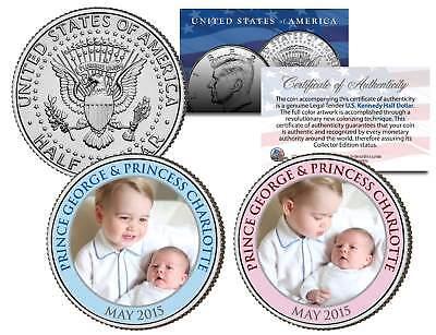PRINCE GEORGE & PRINCESS CHARLOTTE Colorized 2015 JFK Half Dollar US 2-Coin Set