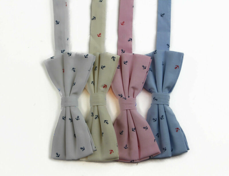 Mens Preppy Anchor Cotton Bow Tie Pre-tied Men