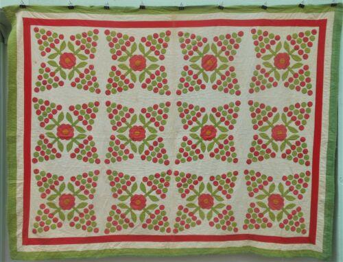Very Nice Antique Pennsylvania Applique Rose Quilt, Hand Stitched