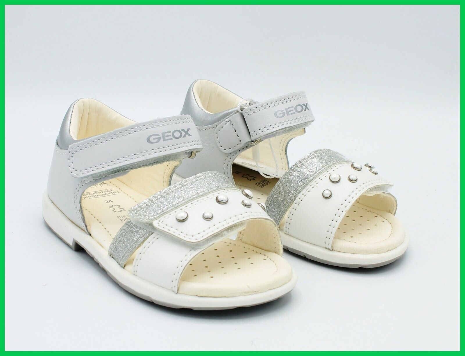 Geox Sandals Baby Leather Elegant First Steps Ceremony Shoes for Baby Girl