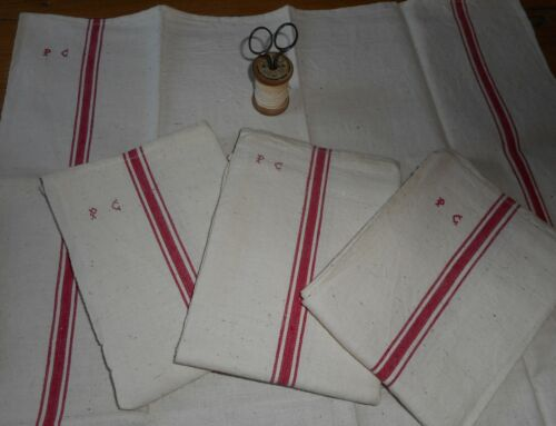 Antique Vtg. French Rustic Towel Linen Metis Fabric Red Ticking Stripe~ Mono PC