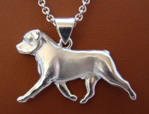 Large Sterling Silver Rottweiler Moving Study Pendant