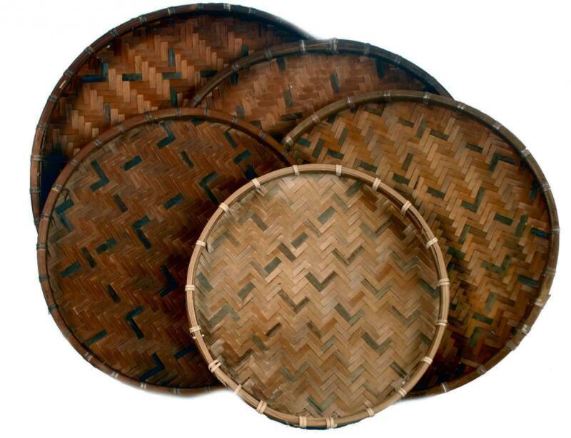 Fair Trade Vietnamese Set 5 Smoked Woven Flat Bamboo Baskets Vietnam 26-37Cm