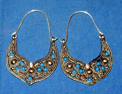 "Earrings Crescent Gemstone Afghan Kuchi Tribal Alpaca Silver 2/"""