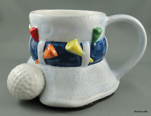 Ganz-No-Spill-Coffee-Mug-Fore-the-Golfer-Label-Golf-Tees-Ball-Drink-n-Drive-12oz