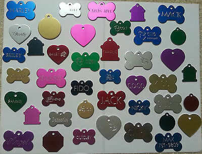 CUSTOM ENGRAVED DOG PET TAG SINGLE SIDE PERSONALIZED ID DOG CAT CHARM TAGS