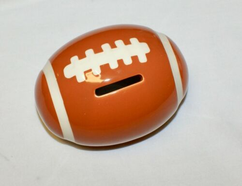 "Football Coin Piggy Bank Ceramic 4.25"" NEW Shower Party Favor"