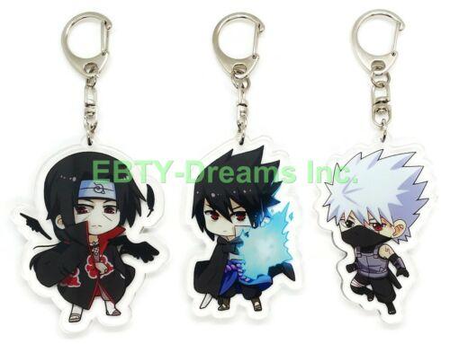 Set of 3 Naruto Anime Acrylic Keychain Uchiha Itachi, Sasuke, Hatake Kakashi