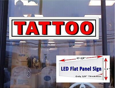 Tattoo Led Sign 48x12 Window Sign Flat Panel Light Box Signs 3d Letter White Bac