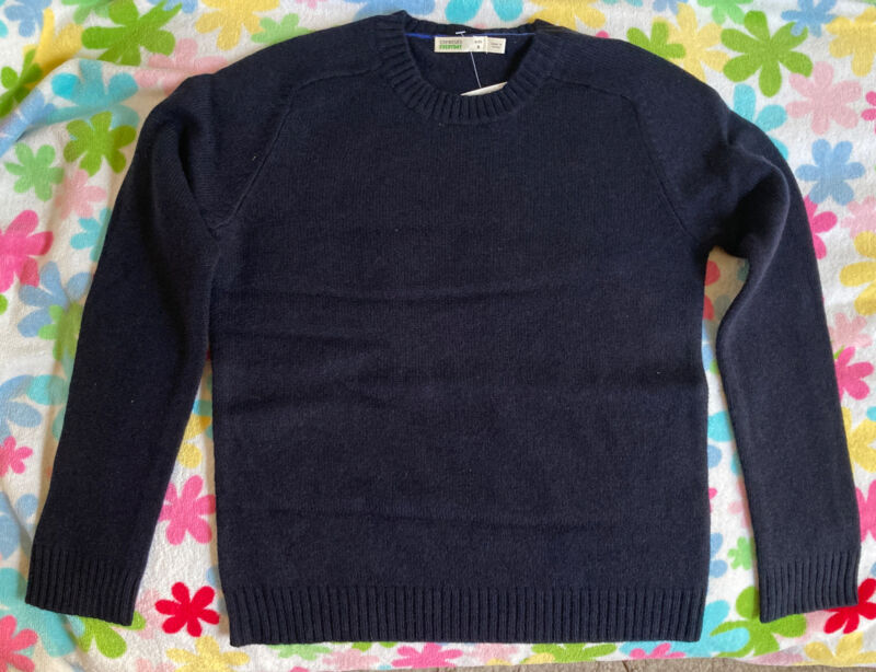 New Crewcuts Boys Glen Merimo Lambs Wool Sweater, Deep Navy, Size 8
