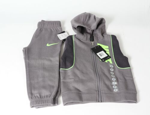 New Nike TD Boys Therma Fleece Zip Hoddie and Jogger Pants (76F706) 2PC Set