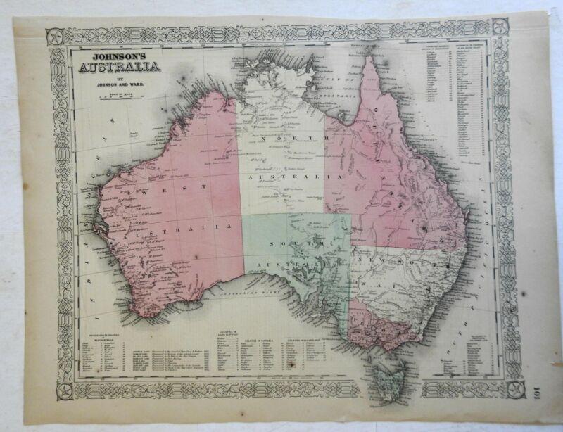 Australia New South Wales Tasmania Queensland 1862 Johnson Ward map Scarce Issue