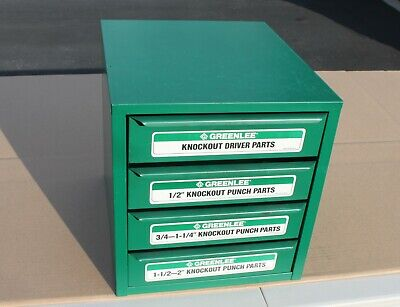 Greenlee Knockout Cabinet 7360sb Loaded Contents Punch Die Draw Stud 729