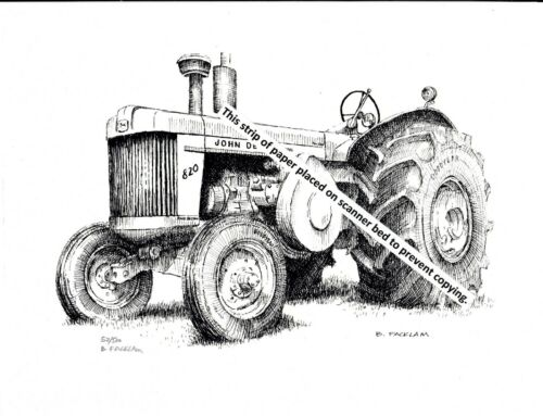 John Deere Model 820 Farm Tractor ~ Pen & Ink Print