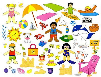 Day at the beach sticker scene. Design your own scene. Great gift idea. One set.