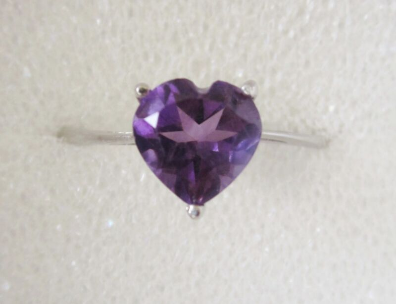 1 ct Amethyst Heart Ring in Sterling Silver sz 6