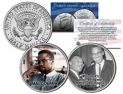 MALCOLM X Colorized JFK Half Dollar U.S. 2-Coin Set with MLK Martin Luther King