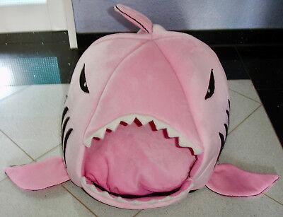 💕🐈 Katzenhöhle Hai Fisch Plüsch rosa mit Kissen Hunde Bett unbenutzt