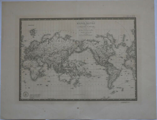 "Original 1830 World Projection - Brue Atlas 26"" x 21"" Huge map - Antique"