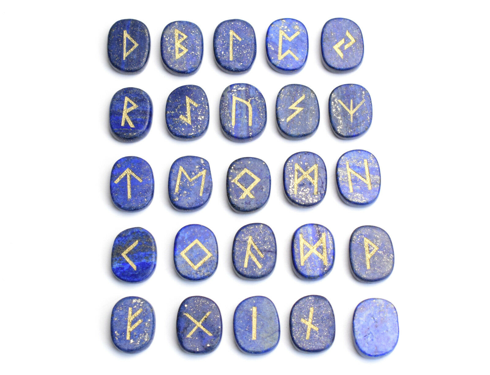Natural Lapis Lazuli Palm Stones Engraved Pagan Lettering Wiccan