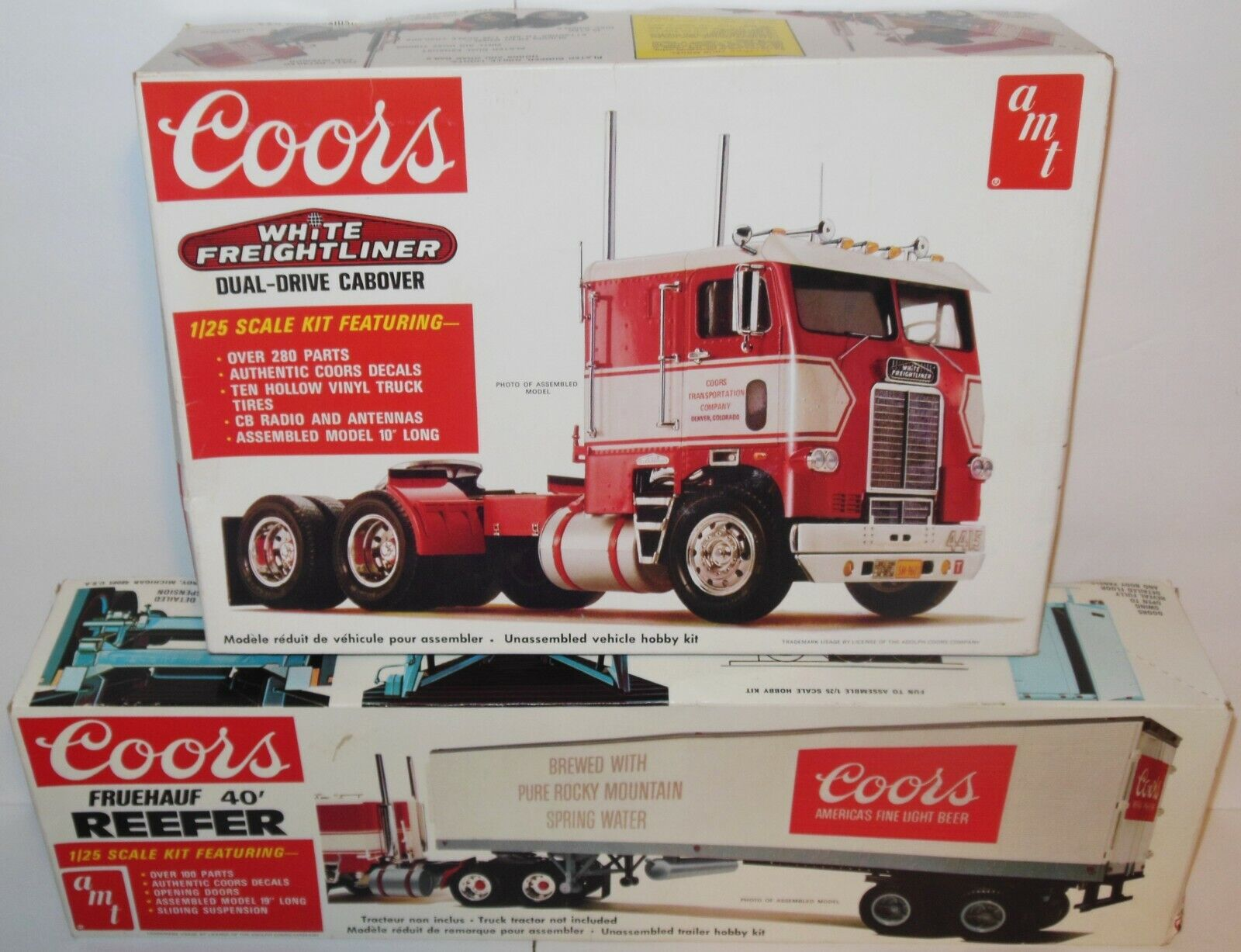 Photo AMT: Coors White Freightliner Cabover Semi & Fruehauf Reefer Trailer 1:25 kits