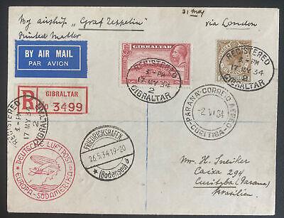 1934 Gibraltar Graf Zeppelin LZ 127 Flight Airmail Cover to Curitiba Brazil