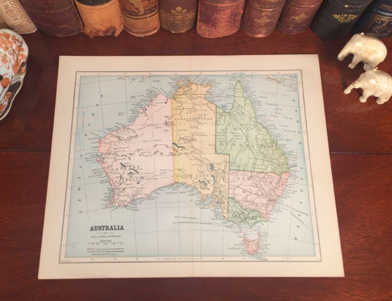 Original 1885 Antique Map AUSTRALIA Sydney Melbourne Perth Coral Sea Tasmania