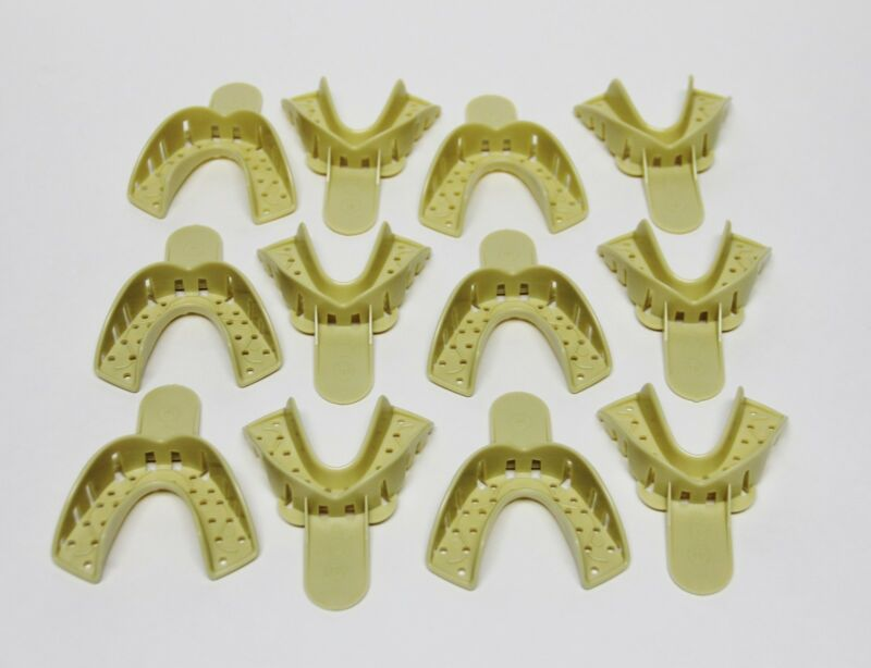 Dental Plastic Disposable Impression Trays Perforated Autoclavable LM #4 12 Pcs
