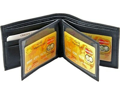 Mens Genuine Leather Bifold Wallet ID Credit Card Holder W/ 2 Center Flap Window Flap Mens Wallet