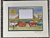 Adventure Car Hop Watercolor Art Print Saugus MA Gift Ginsberg WMEX Hot Rat Rod