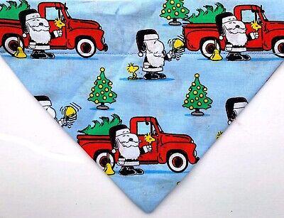 Snoopy Charlie Brown Christmas Dog scarf bandana, Red truck, Santa Claus slip on