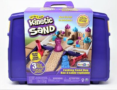 Kinetic Sand 3lb 3lbs 1lb of Blue Pink And Natural With Storage Box Toy Molds