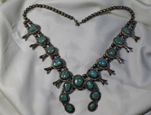 Navajo Squash Blossom Sterling Silver and Real Turquoise Necklace