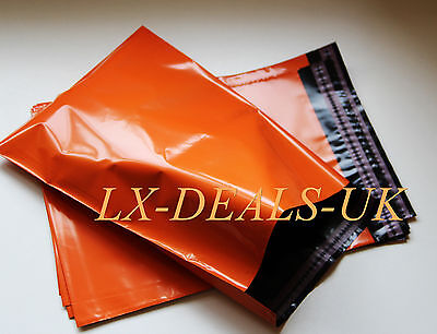 25 ORANGE poly postal packaging mailing bags 305 x 410 mm 12 x 16 envelopes 25x
