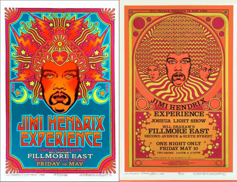 Jimi Hendrix Fillmore East 2 Poster Set Original/Final Designs Signed David Byrd