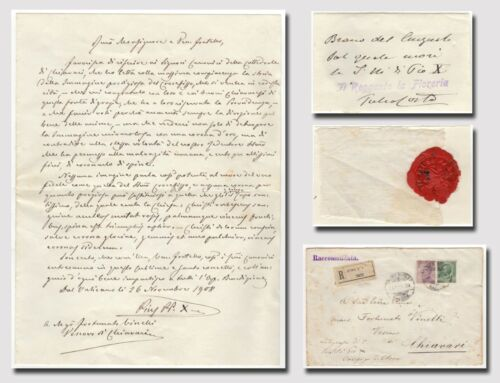 Pius X., Pope - Autograph letter signed and fabric on which the Pope died