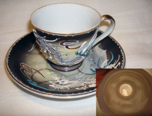 Vintage Japan Black Dragonware Dragon Lithopane Geisha Girl Tea Cup & Saucer Set